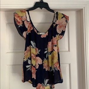 Joie navy floral silk blouse size XS